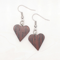 Heart wood earrings - Cocobolo