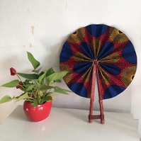 African Print Fan, Leather handle fan