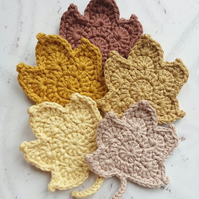 Crochet Autumn Leaves, Set of 5