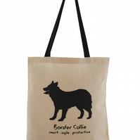 BORDER COLLIE dog Tote Bag. 100% Cotton. Natural, black straps