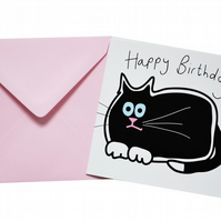 Black Cat Birthday Card. Light pink envelope.