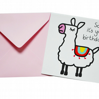 Llama Birthday Card. Light pink envelope.