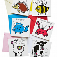 Pack of 6 Birthday Cards. Mixed designs. Coloured envelopes.