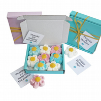 Tiny treats! Little Skyblue box of Marshmallow flowers. Personalisable.