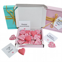 Tiny treats! Little Pink box of chocolate hearts. Personalisable.