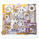 Bees theme scrapbook kit, handmade junk journal accessories, scrapbooking set