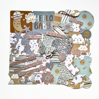 Gender neutral baby scrapbook kit, journaling embellishments for boys and girls