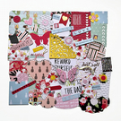 Junk journal embellishments, girls scrapbook kit, handmade scrapbooking set