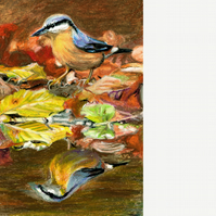 Autumn Nuthatch. Original painting in oil pastels.