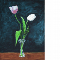 Last of the Tulips. Original watercolour painting, signed by the artist.