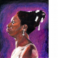 Portrait of Nina Simone. Original oil pastel, signed by the artist