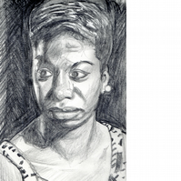 Portrait of Nina Simone. Original graphite pencil drawing, signed by the artist.