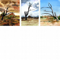 Mickleham Down, tree triptych. Signed, original watercolour painting.