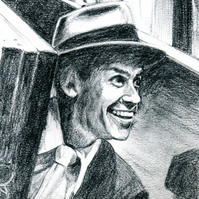 Frank Sinatra. Original pencil drawing, signed by the artist.
