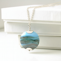 Coastal Landscape Handmade Lampwork Glass Necklace