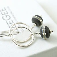 Black and Sterling Silver Hoop Earrings with Etched Lampwork Glass Beads