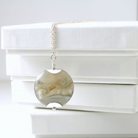 Grey Lampwork Glass and Sterling Silver Necklace