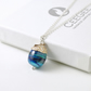 Blue Acorn Necklace in Sterling Silver and Handmade Lampwork Glass