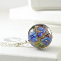 Long Handmade Blue and Purple Lampwork Glass Flower Necklace