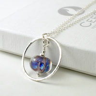 Sterling Silver Hoop Necklace with Blue and Purple Glass Flowers