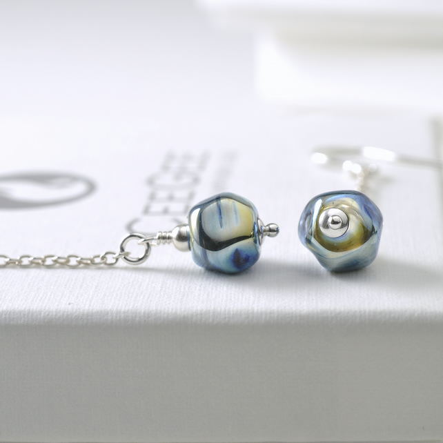 Long Sterling Silver Dangle Earrings with Lampwork Glass Nuggets