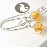 Long Lampwork Glass Flower Earrings on Sterling Silver Hooks in Apricot