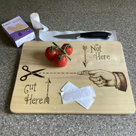 Instructional chopping boards for clumsy people - cut