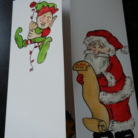 HAND PAINTED CHRISTMAS CARD SANTA AND HIS ELF