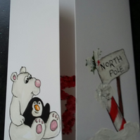 HAND PAINTED CHRISTMAS CARD POLAR BEAR