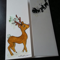 HAND PAINTED CHRISTMAS CARD  WITH BABY REINDEER