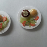 12th scale plates of Burger with Salad
