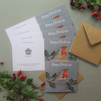 5 x Robin on a holly branch Christmas cards