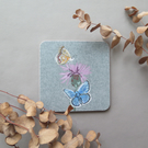 Common blue butterfly coaster