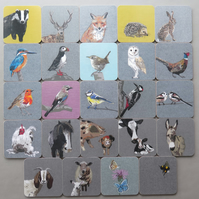 4 coasters (your own selection including 'British Birds', 'Farm Animals' & Bee)