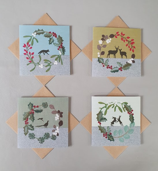 4 Christmas card bundle - Stag, Hare, Pheasant & Fox cards