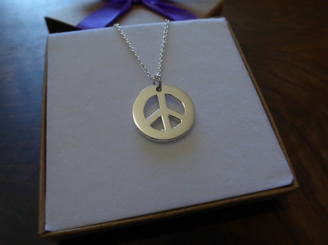 Ban the Bomb Pendant - Silver Peace Symbol - Chunky Peace Necklace