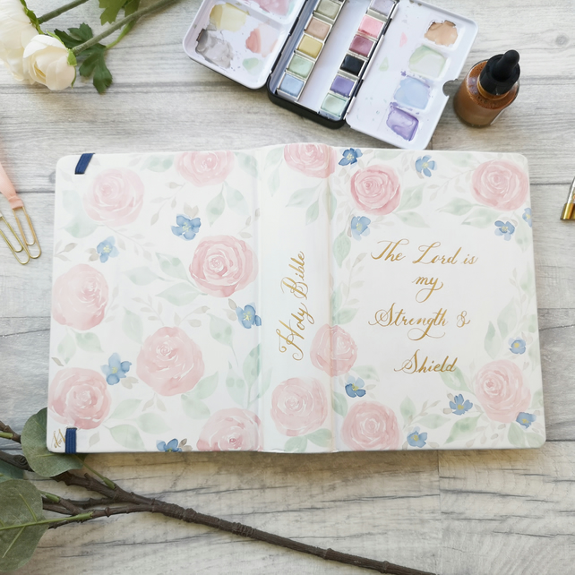 Hand painted watercolour Floral NIV journaling bible