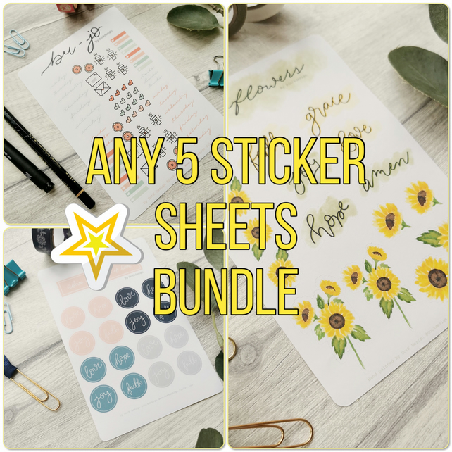 Pick 'n' Mix Any 5 Sticker Sheet Bundle