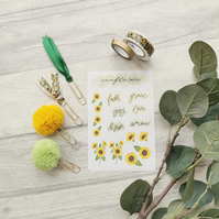 Sunflowers - Bible Journaling bookmark & sticker pack