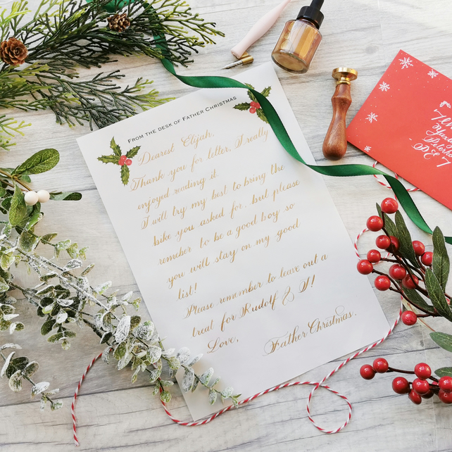 Personalised Letter from Father Christmas - hand lettered in Gold Script