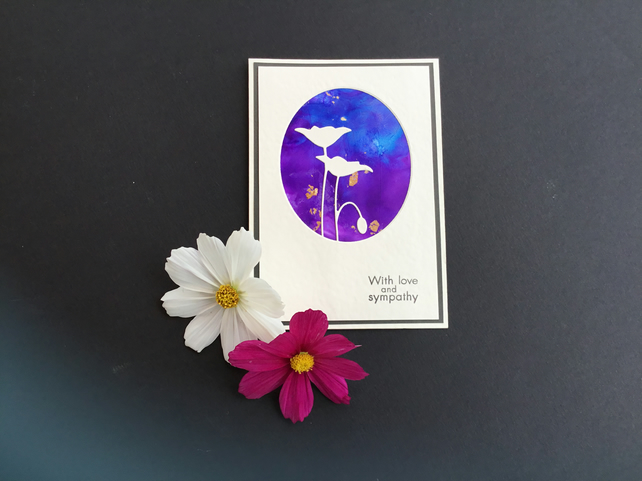 Sympathy card - silhouette flowers & framed oval purple & blue background
