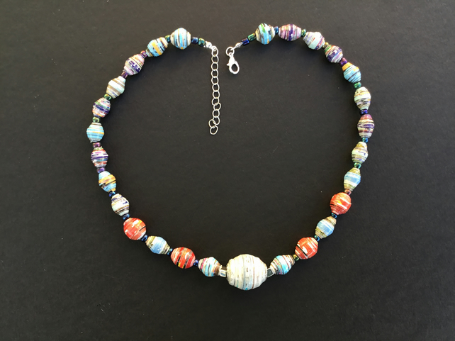Eco-friendly lightweight paper bead necklace
