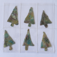 6 Free Motion Embroidery Tree Embellishments Card Making