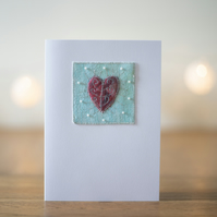 Personalised Mixed Media Hand Beaded Heart Valentines Card