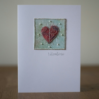Mixed Media Hand Beaded Heart Valentines Card