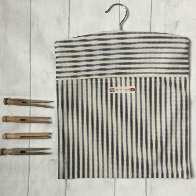 Cotton Ticking Peg Bag