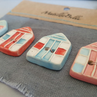 Handmade Ceramic Beach Hut Buttons