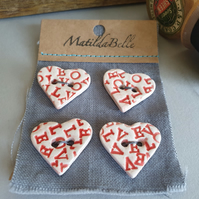 Unique Handmade Love Ceramic Buttons