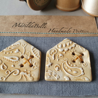 Handmade Ceramic Paisley House Buttons