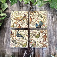 Game Birds Set of Four Stone Coasters